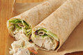 Organic chicken wrap sandwiches on brown wrapping paper Stock Photography