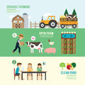 Organic clean foods good health design concept people set farm farming eating sitting eco livestock in nature with flat icons Stock Images