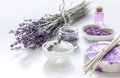 Organic cosmetic with lavender flowers and oil on white background Royalty Free Stock Photo