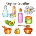 Organic cosmetics illustration. Beauty set. Hand drawn spa and aromatherapy elements. Cartoon vector sketch of natural