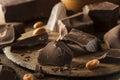 Organic dark chocolate chunks ready for baking Stock Photography