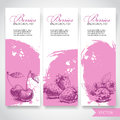 Organic eco berries banners. Hand drawn berries. Cherries, strawberries and raspberries on pink watercolor background with white s
