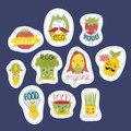 Organic, eco and bio food stickers set. Royalty Free Stock Photo
