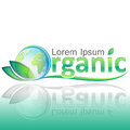 Organic ecology concept with Planet Earth and green leafs