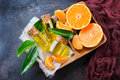 Organic essential tangerine, mandarin, clementine oil Royalty Free Stock Photo