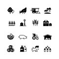 Organic farm and agriculture vector silhouette icons isolated