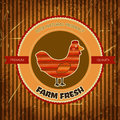 Organic farm funny cartoon label with chicken hen hand drawn retro vector illustration poster Royalty Free Stock Image