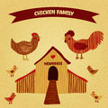 Organic farm funny cartoon label with family chicken cock hen with chickens hen house hand drawn retro vector illustration poster Royalty Free Stock Photo