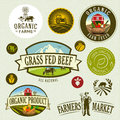 Organic farm labels and elements Stock Photo