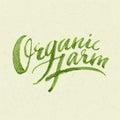 Organic farm logo hand lettering eps Royalty Free Stock Image