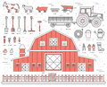 Organic farm in village set and tile in thin lines style design. instruments, flower, vegetables, fruits, hay, farm Royalty Free Stock Photo