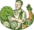 Organic Farmer Green Grocer With Vegetables Retro Stock Images