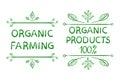 Organic farming. Organic products 100 . Hand drawn typographic design elements