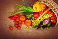 Organic food background vegetables and fruits in the basket. Top Royalty Free Stock Photo