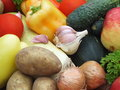 Organic food background vegetables on the old wooden table Stock Photo