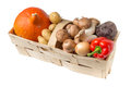 Organic food basket with fresh Royalty Free Stock Photo