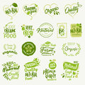 Organic food, farm fresh and natural product stickers and labels collection