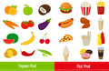 Organic food and Fast food icons. Vector