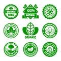 Organic Food Green Labels Set. Vector Royalty Free Stock Photo