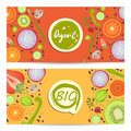 Organic food horizontal flyers set