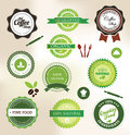 Organic food labels set of and farm fresh badges and Royalty Free Stock Photography