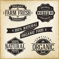 Organic food labels vector collection of monoprint vintage for product Stock Images