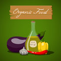 Organic food vector ilusration with vegetables and olive oil Stock Image