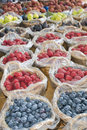 Organic fruit and vegetable soft fruit vegetables at the market Royalty Free Stock Photo