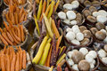 Organic fruit and vegetables carrots and mushrooms at the market Royalty Free Stock Images