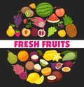 Organic fruits and berries harvest poster of fresh apple and mango or pineapple, natural pear, grape and tropical banana Royalty Free Stock Photo