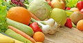 Organic fruits and vegetables closeup on a table Royalty Free Stock Photography