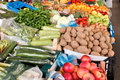 Organic fruits and vegetables on farmers market Royalty Free Stock Photo