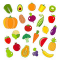Organic fruits and vegetables outline style icons set Royalty Free Stock Photo