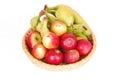 Organic fruits on white Royalty Free Stock Photo