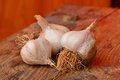 Organic garlic on the wooden table Stock Image