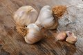 Organic garlic on the wooden table Royalty Free Stock Photos
