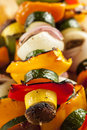 Organic grilled vegetable shish kebab with peppers mushrooms and onions Royalty Free Stock Image