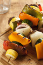 Organic grilled vegetable shish kebab with peppers mushrooms and onions Stock Photography