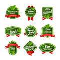 Organic health food badge seal design. Natural organic food sticker set. Farm product market signs in vector Royalty Free Stock Photo