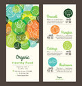 Organic healthy food with fruits and vegetables menu flyer leaflet Royalty Free Stock Photo