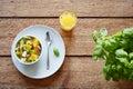 Organic healthy whole breakfast fruit salad and orange juice