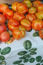 Organic heirloom tomatoes at a Farmer's Market Royalty Free Stock Photo