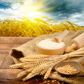 Organic ingredients for bread preparation Stock Photography