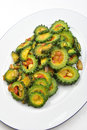 Organic karela salad on a plate Royalty Free Stock Photo