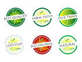 Organic labels set of and farm fresh food badges and Stock Photo