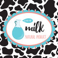 Organic milk sticker with cow spot skin background. Royalty Free Stock Photo