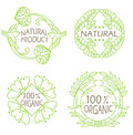 Organic natural and eco icons set with text Natural product. Royalty Free Stock Photo