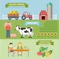 Organic natural farm flat infographics: farming eco food