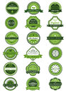 Organic or natural product labels and banners set with green white design element Royalty Free Stock Image