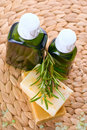 Organic oil with soap and rosemary Royalty Free Stock Image